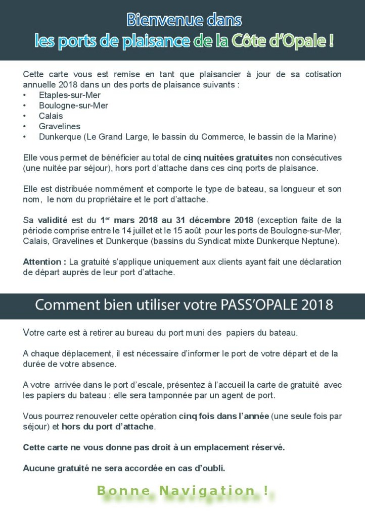 Affiche Pass Opale 2018